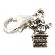 Father Christmas In Chimney Sterling Silver Clip On Charm - With Clasp